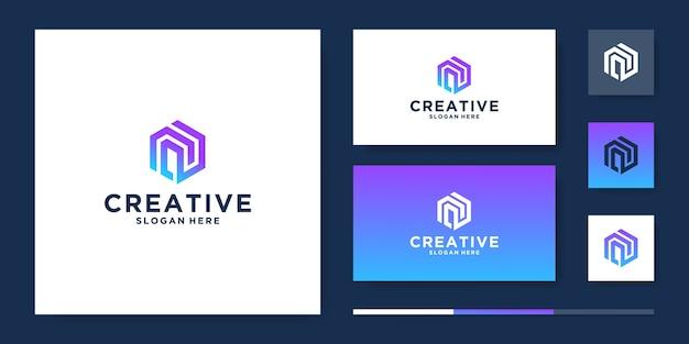 Modèle de conception de logo lettre n créative