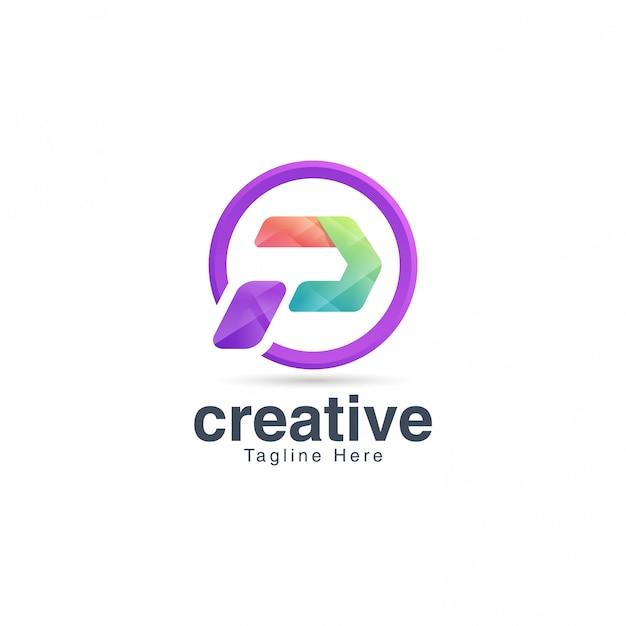 Modèle de conception de logo de lettre p vibrante créative
