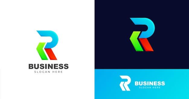 Modèle de conception de logo de lettre r initiale