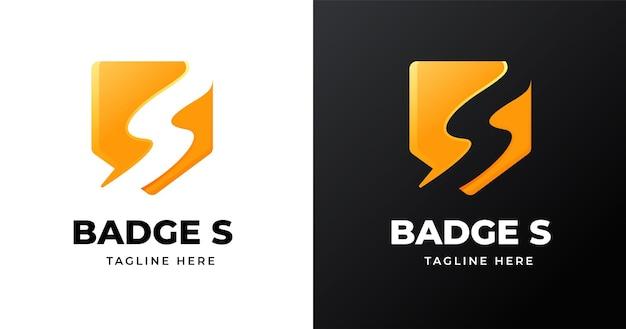 Modèle de conception de logo lettre s avec style de forme de badge