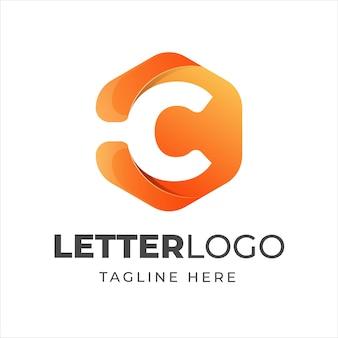 Modèle de conception de logo lettre c avec style de forme géométrique