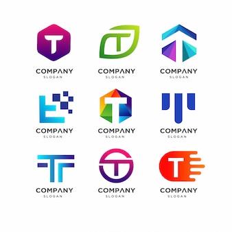 Modèle de conception de logo lettre t