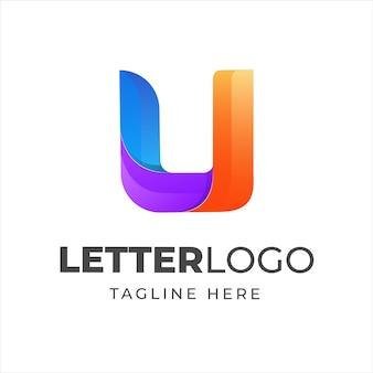Modèle de conception de logo lettre u coloré