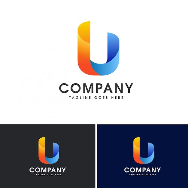 Modèle de conception de logo lettre u initiale