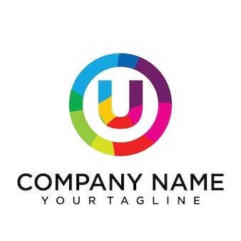 Modèle de conception de logo lettre u. signe créatif doublé coloré