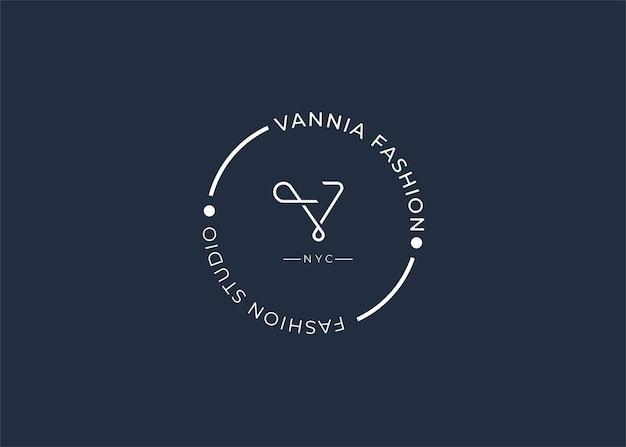 Modèle de conception de logo lettre v initiale minimaliste, style vintage s