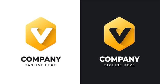 Modèle de conception de logo lettre v avec style de forme géométrique