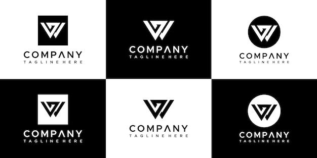 Modèle de conception de logo lettre wg