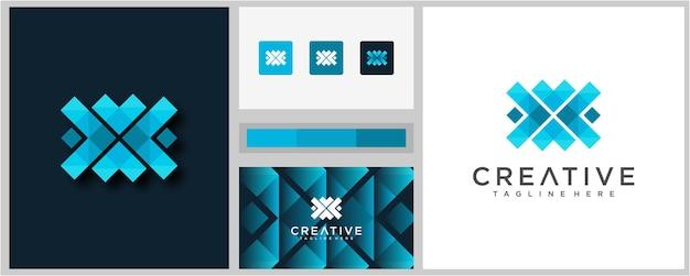 Modèle de conception de logo lettre x coloré