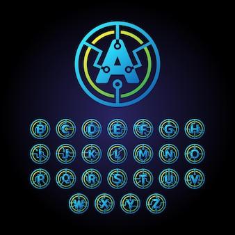 Modèle de conception de logo de lettres initiales a à z, logo vectoriel d'icône de technologie en cercle