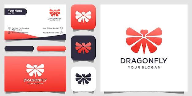 Modèle de conception de logo de libellule et conception de carte de visite illustration vectorielle
