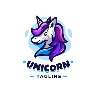 Modèle de conception de logo de licorne avec des détails mignons