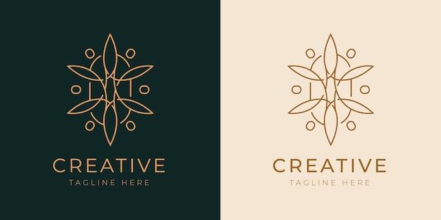 Modèle de conception de logo de ligne de boutique royale