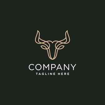 Modèle de conception de logo de ligne élégante tête de taureaux
