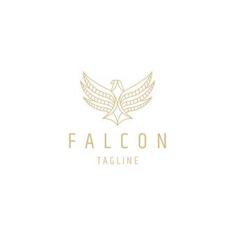 Modèle de conception de logo de ligne falcon