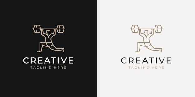 Modèle de conception de logo de ligne d'haltères de levage d'athlète masculin