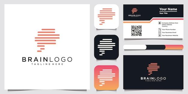 Modèle de conception de logo de ligne d'icônes de cerveau humain et de carte de visite