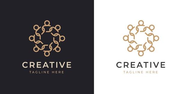 Modèle de conception de logo de ligne sociale humaine