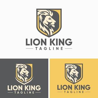 Modèle de conception de logo lion vintage