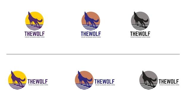 Modèle de conception de logo de loups
