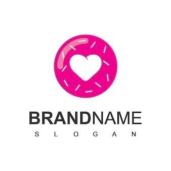 Modèle de conception de logo love donuts