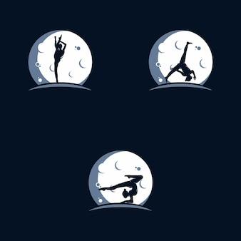 Modèle de conception de logo de lune de gymnastique