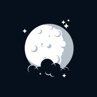 Modèle de conception de logo de lune