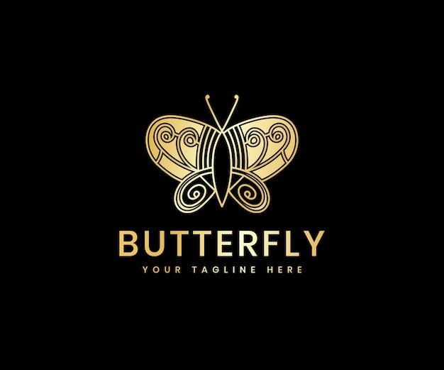 Modèle de conception de logo de luxe d'art de ligne de papillon de beauté féminine de luxe doré pour la marque de cosmétiques