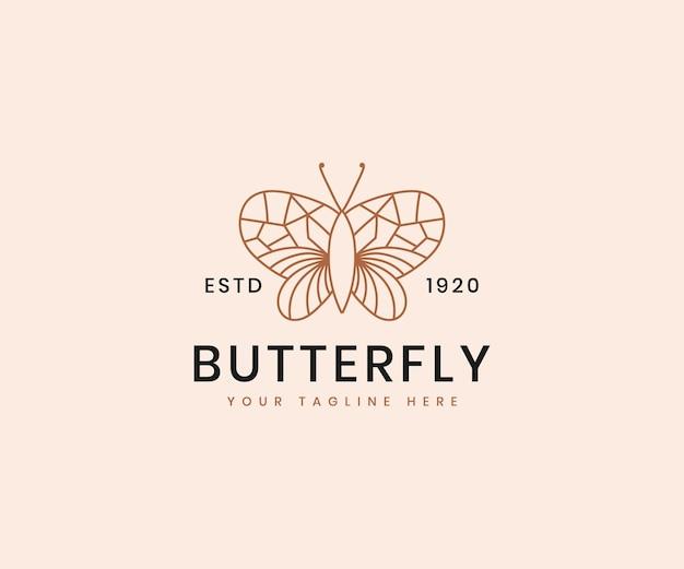 Modèle de conception de logo de luxe élégant d'art de ligne de papillon de beauté féminine pour la marque cosmétique
