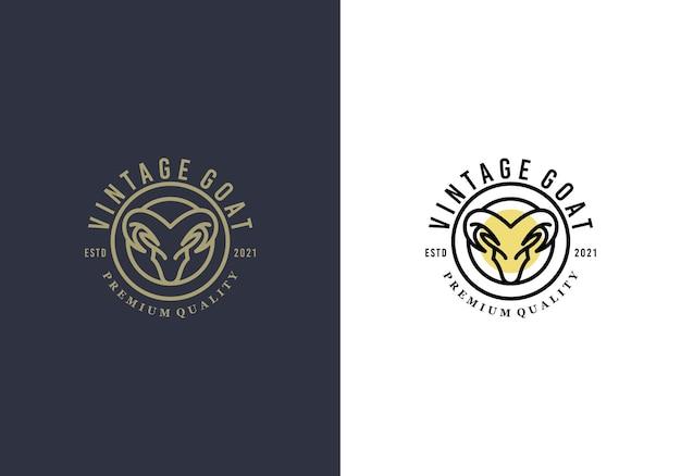 Modèle de conception de logo de luxe génial tête de chèvre