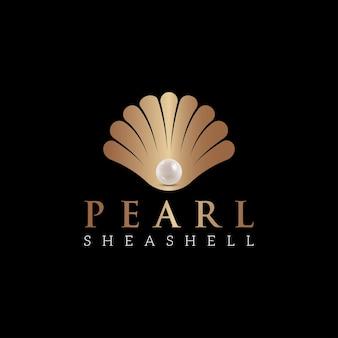 Modèle de conception de logo de luxe pearl shell jewelry. inspiration créative de conception de logo de mâchoire. peuvent être utilisés comme symboles, identité de marque, logo d'entreprise, icônes ou autres. la couleur et le texte peuvent être modifiés.