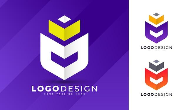 Modèle de conception de logo de luxe roi m lettre