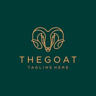 Modèle de conception de logo de luxe tête de chèvre