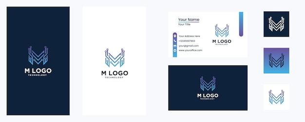 Modèle de conception de logo m tech logo