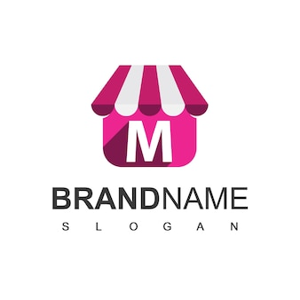 Modèle de conception de logo de magasin de lettre m, symbole de boutique en ligne.