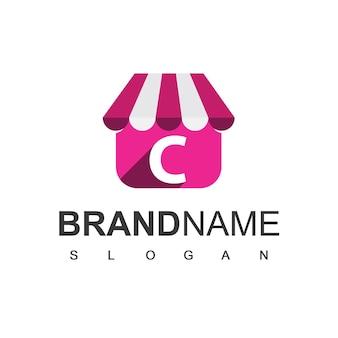 Modèle de conception de logo de magasin de lettre c, symbole de boutique en ligne.