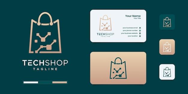 Modèle de conception de logo de magasin de magasinage technologique.