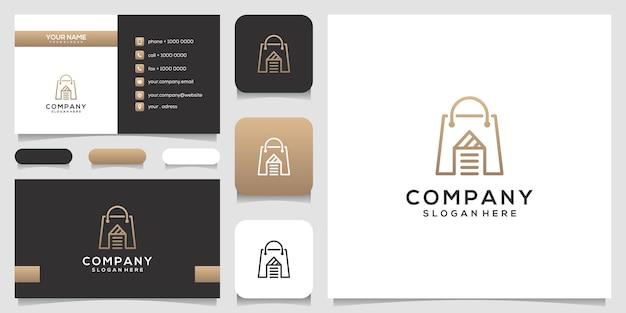 Modèle de conception de logo de magasin de maison et conception de carte de visite