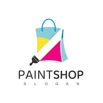 Modèle de conception de logo de magasin de peinture
