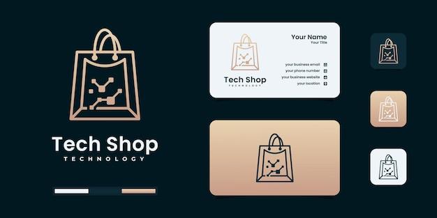 Modèle de conception de logo de magasin de technologie créative.
