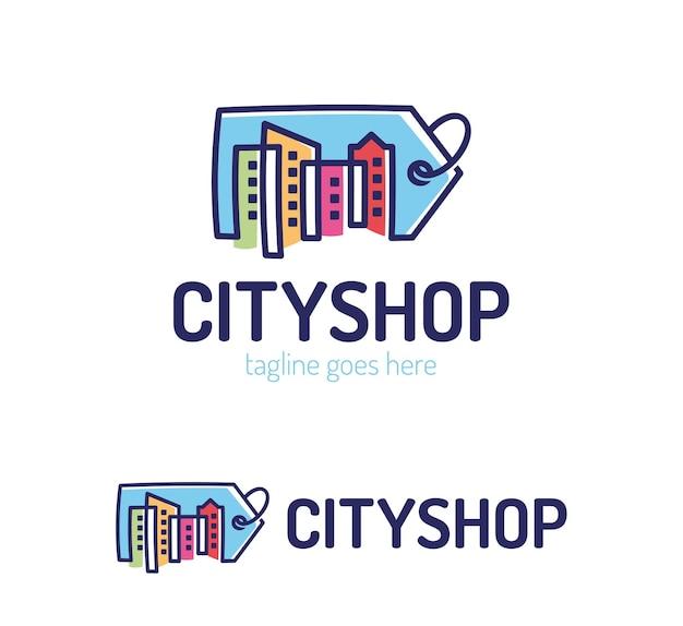 Modèle de conception de logo de magasin de ville