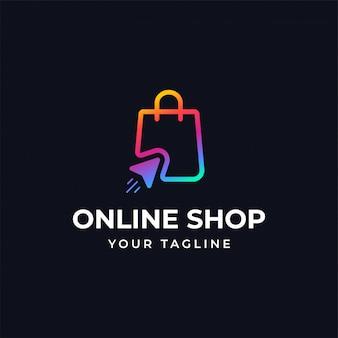 Modèle de conception de logo de magasinage en ligne