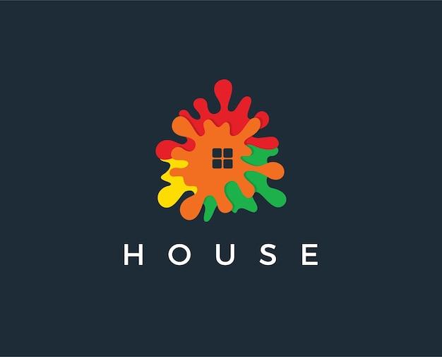 Modèle de conception de logo de maison abstraite
