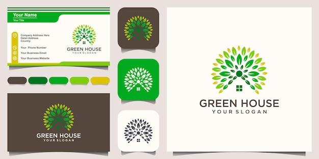 Modèle de conception de logo de maison biologique logo de la maison logo de l'entretien de la maison logo de la maison propre illustration vectorielle