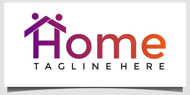 Modèle de conception de logo de maison de bonheur