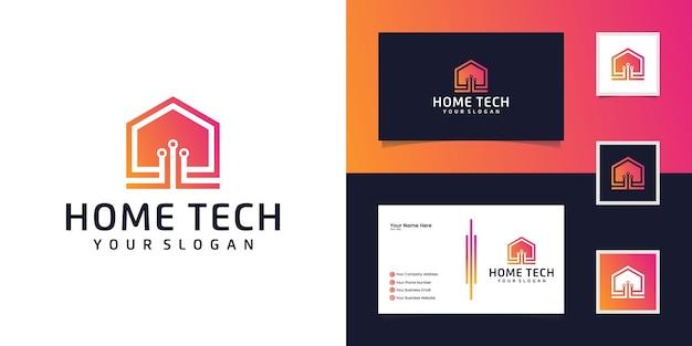 Modèle de conception de logo de maison intelligente. construire un signe de vecteur. technologie électronique numérique à la maison et carte de visite