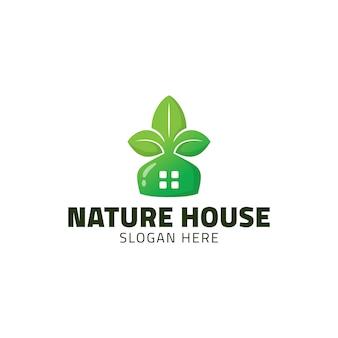 Modèle de conception de logo de maison nature