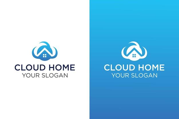 Modèle de conception de logo de maison en nuage