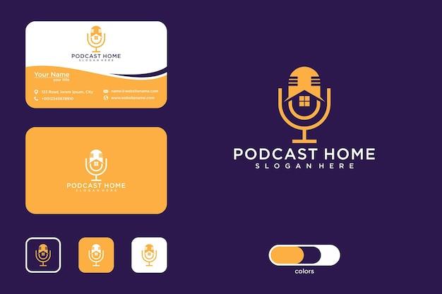Modèle de conception de logo de maison de podcast et carte de visite