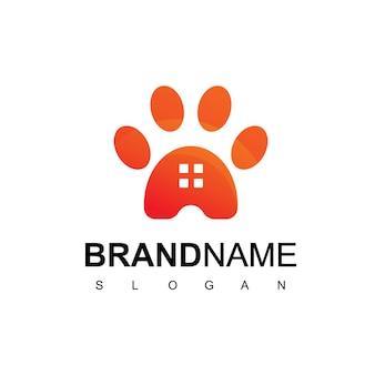 Modèle de conception de logo de maison pour animaux de compagnie avec symbole de patte